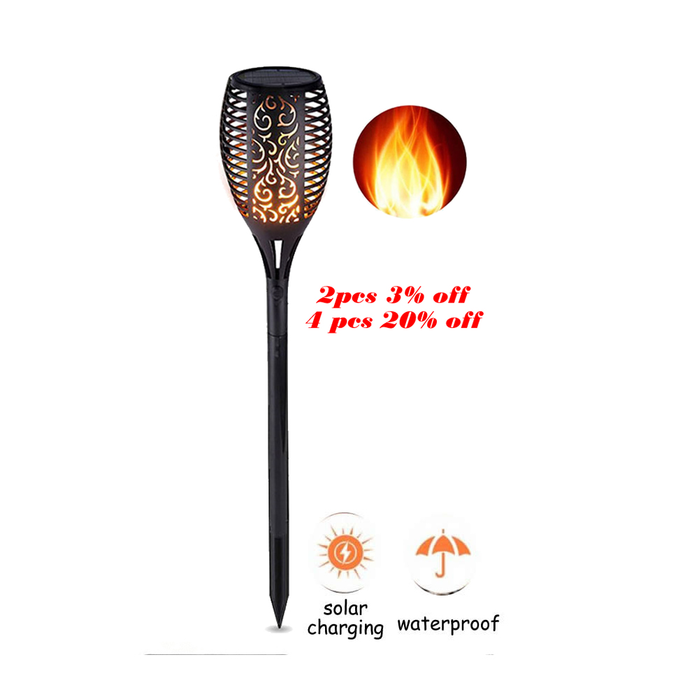 Solar Powered LED Flame Lamp Waterproof 33/96 LEDs Lawn Flame Flickering Torch Light Outdoor Solar LED Fire Lights Garden Smart