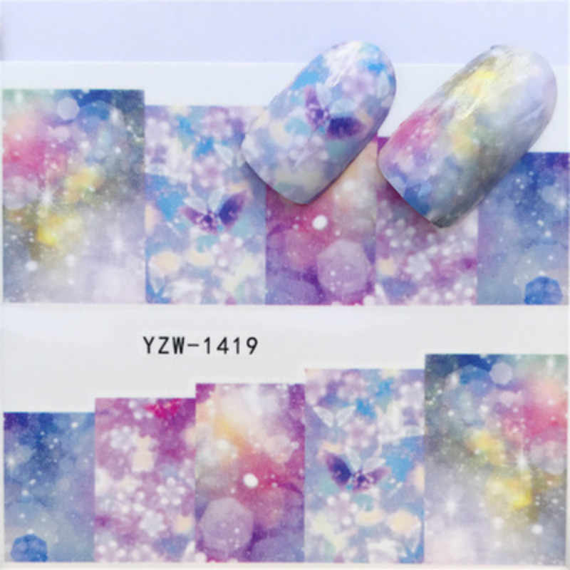 1pcs Cute Rose DIY Nail Art Sticker Set Black Lace Gold Silver Glitter Flower Water Decal Slider Wraps Decor Manicure 10003