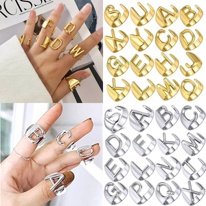 Chunky Wide Hollow A-Z Letter 3Colors Metal Adjustable Opening Ring Initials Name Alphabet Female Party Fashion Jewelry