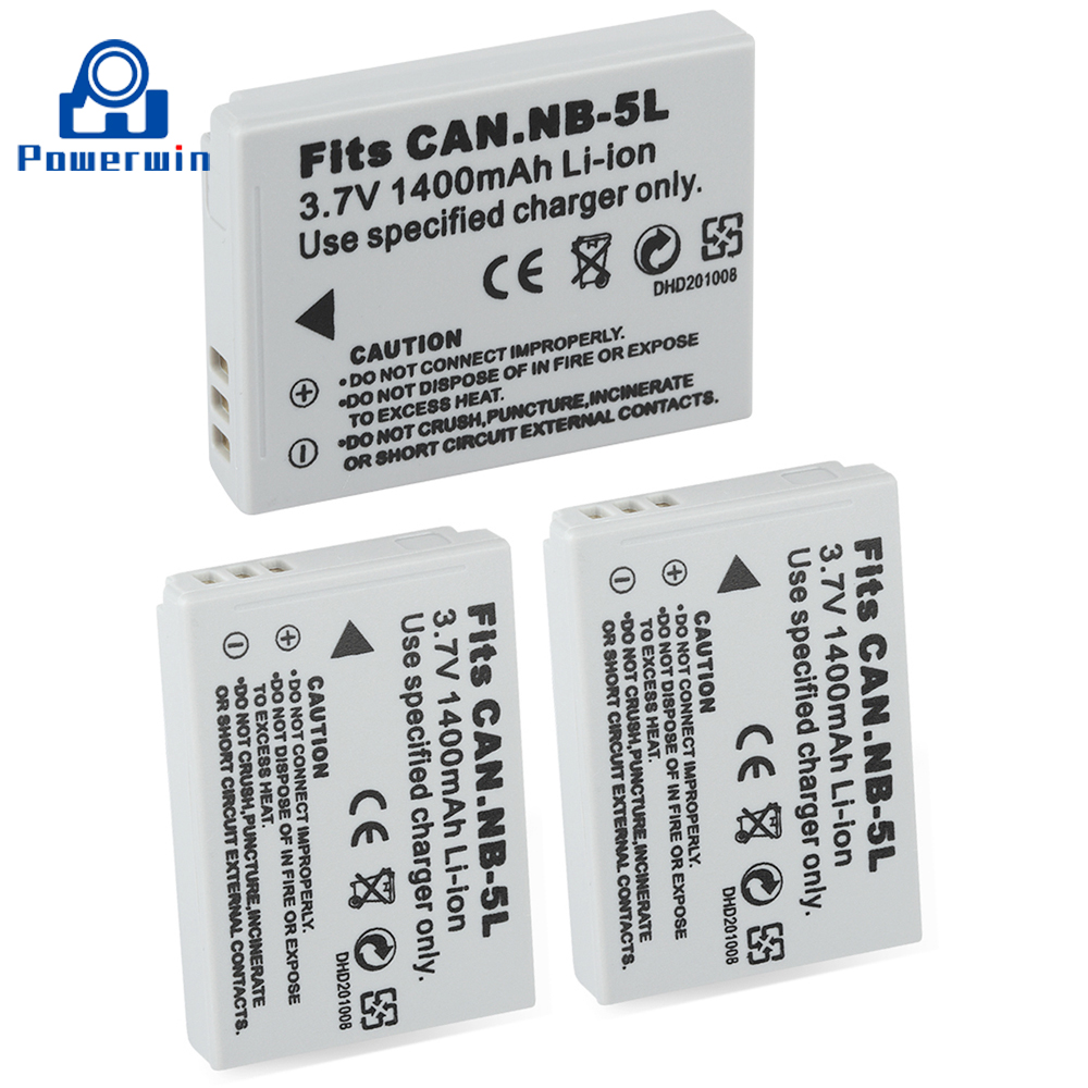 Powerwin 3pcs 1400mAh 3.7V NB-5L NB 5L NB5L Camera <font><b>Battery</b></font> For <font><b>Canon</b></font> SX200 SX210IS SX220HS <font><b>SX230HS</b></font> CB-2LXE Shot S100 S110 SD950 image