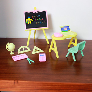1 Set Dollhouse Doll Accessories School Nursery Blackboard Chair Table Desk Furniture for Barbie Sister Kelly Doll for Simba Toy