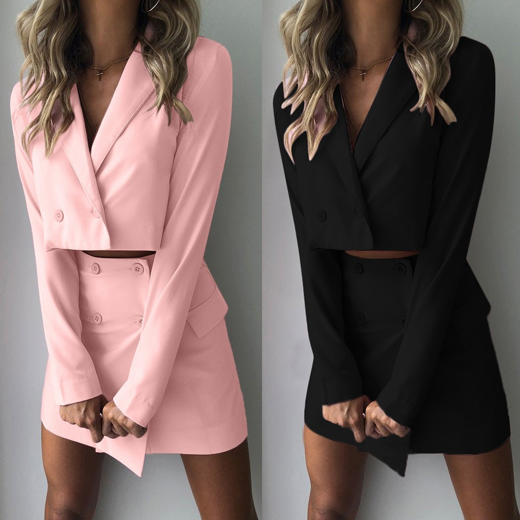 Women Suits 2019  Two Piece Suit Short Jacket+package HipSlim Fit Coat High Waist Skirt New