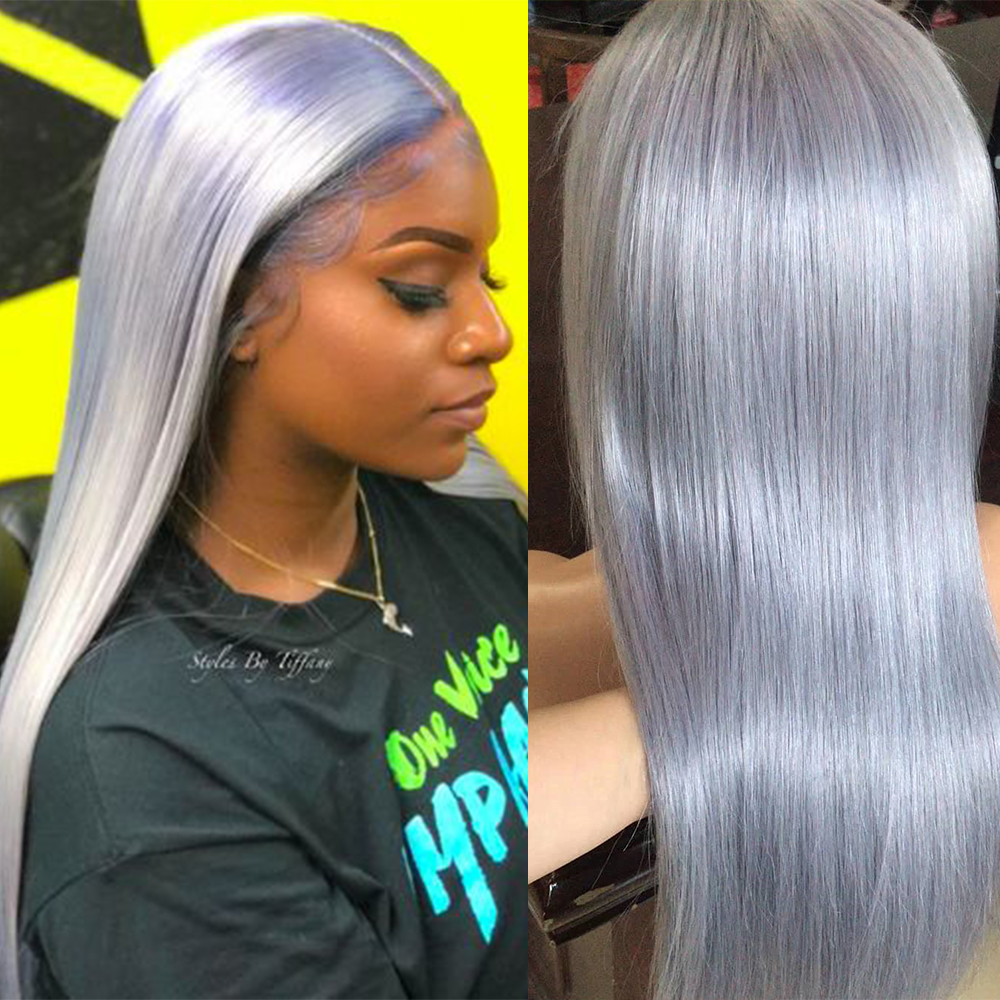 ALITOP 13x6 Ash Grey Lace Front Human Hair Wigs 150% Brazilian Remy Hair Pre Plucked Ombre Straight Bob Wigs For Black Women