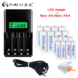 PALO 1.2V Nimh Rechargeable AAA Batteries AAA+AA Rechargeable Battery AA Batteria 3000mah+1.2V AA AAA Battery Smart Charger LCD
