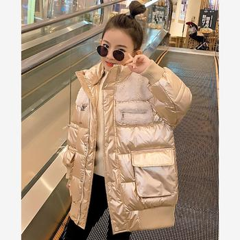 Imitation Lamb Fur Girls Cotton coat  Winter New granule Velvet thicker Stitching Glossy Warm Cotton Jacket kids outerwear Y2495