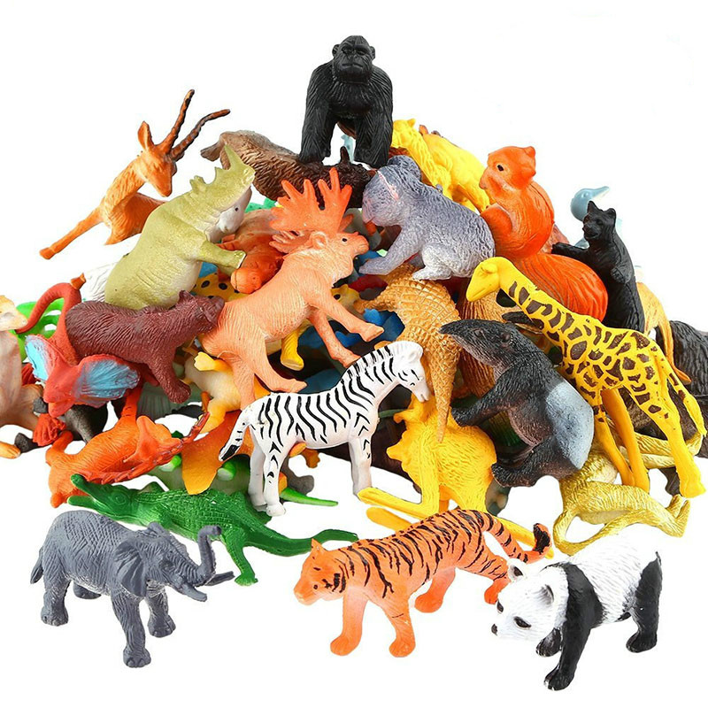 53pcs/set Mini Animal World Zoo Model Figure Action Toy Set Cartoon Simulation Animal Lovely Plastics Collection Toy For Kids