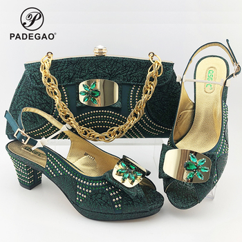 Wedding Dress Classics Green Color Shoes And Bag To Match Set Italian High Heels Party Shoes And Bag Set For Royal Party