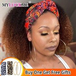 Afro perwersyjne kręcone 1b/30 kolor pałąk peruka ludzki włos miód blond peruka z naturalnych włosów brazylijski Remy włosy szybka instalacja MYLOCKME