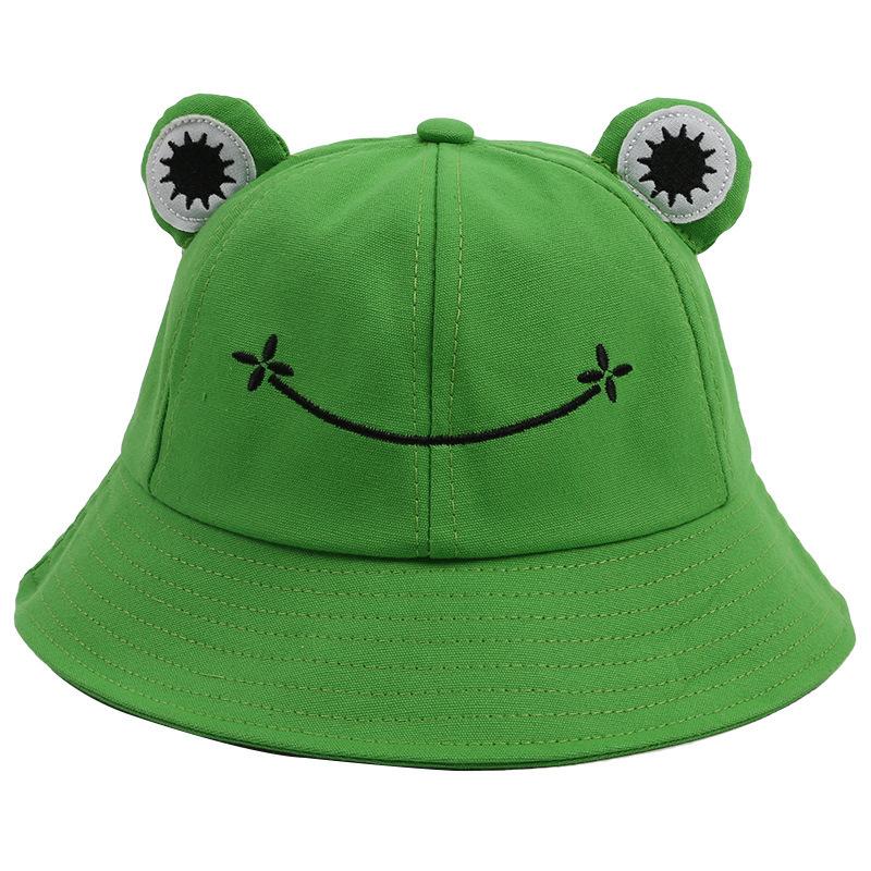Green Frog Bucket Hat for Women Summer Autumn Plain Women Panama Outdoor Hiking Beach Fishing Cap Sunscreen Female Sunhat Bob