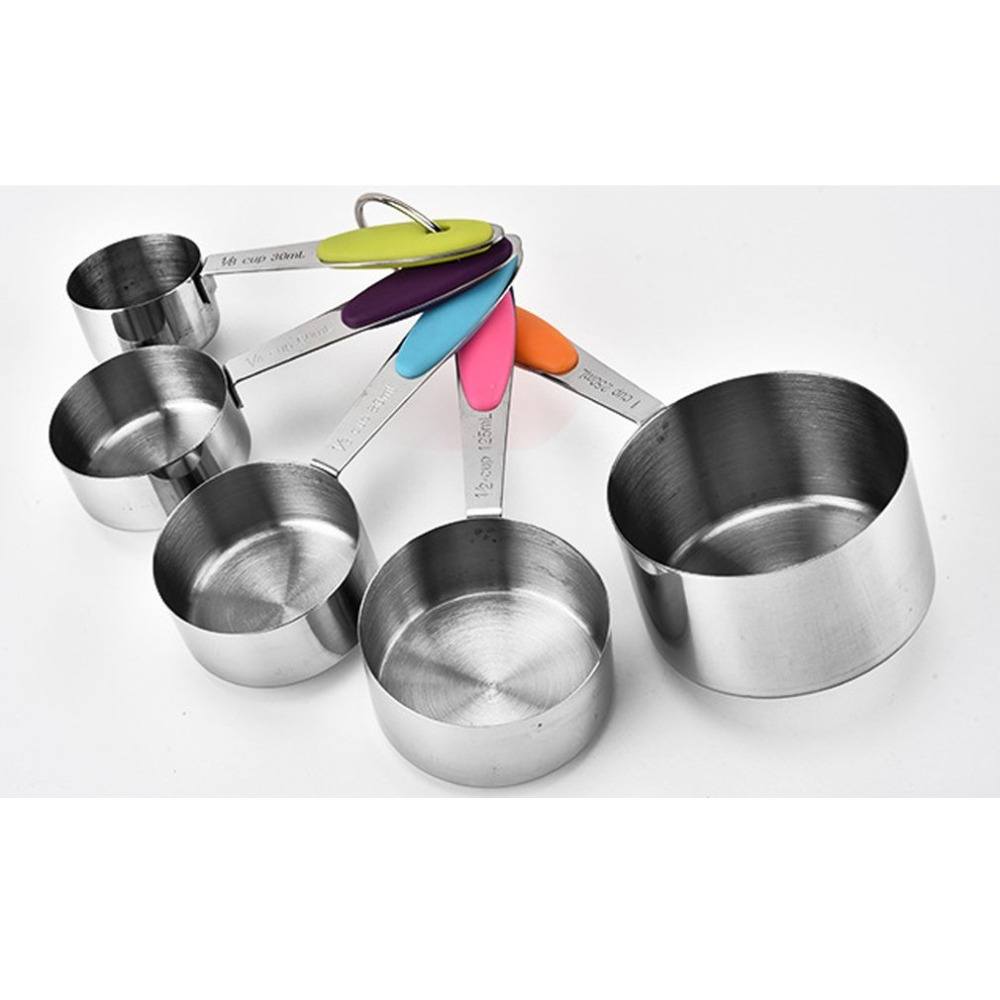 5Pcs Stainless Steel Measuring Spoons Cups Set Tablespoons Measuring Set With Silicone Handle Measuring Spoons