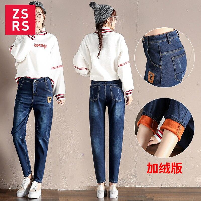 Zsrs 2019 Big Pocket Jeans High Waist Denim Pants Fleece Scratch Jeggings Casual Plus Size Jeans For Women Warm Jeans Mom Jeans