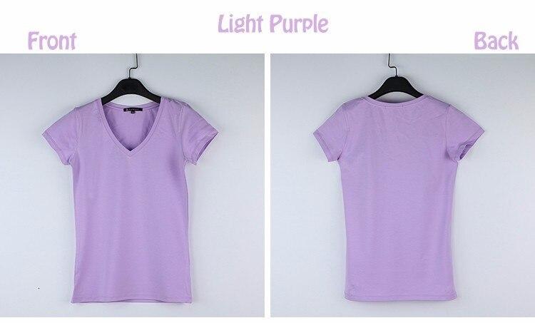 High Quality V-Neck 15 Candy Color Cotton Basic T-shirt Women Plain Simple T Shirt For Women Short Sleeve Female Tops 077 12