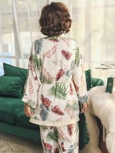 Image 5 - 2019 Spring Autumn Long Sleeve Cotton Pajamas Set 3 Pieces Set Women Sleepwear Sexy Nightwear For Women Sleeping Set M XL
