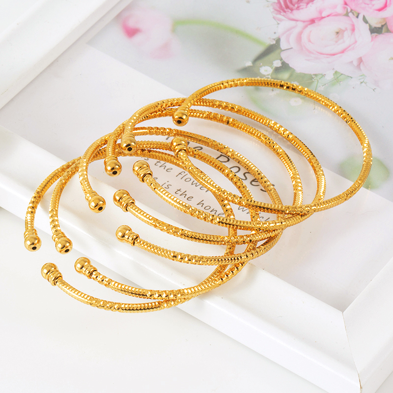 3MM/6pcs Dubai Bangle For Women Indian Bangles Africa Ball Jewelry Gold color Bangle&Bracelet Ethiopian Wedding Bride Jewelry