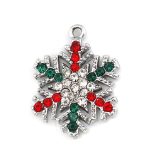Snowflake Charms Rhinestone Handmade-Making Jewelry Clear Christmas Gold-Color for DIY