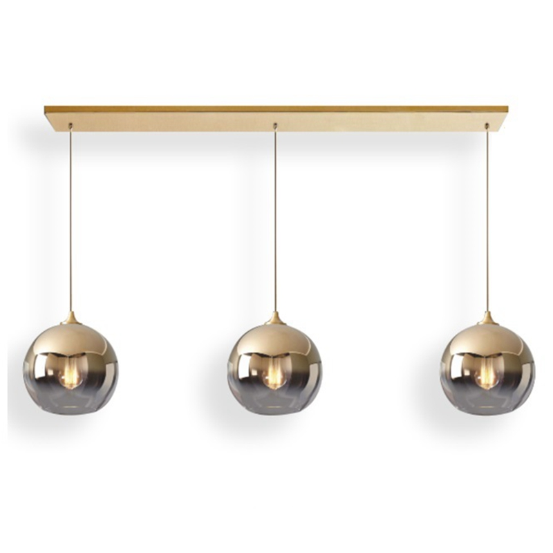 LukLoy Kitchen Island Lamps Gold Silver Glass Ball Bar Counter Pendant Lights Dining Table Hanging Lights Suspension Lighting