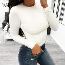 FSDA manches longues noir Body O cou décontracté printemps hiver blanc corps haut Sexy femmes 2020 Body Streetwear