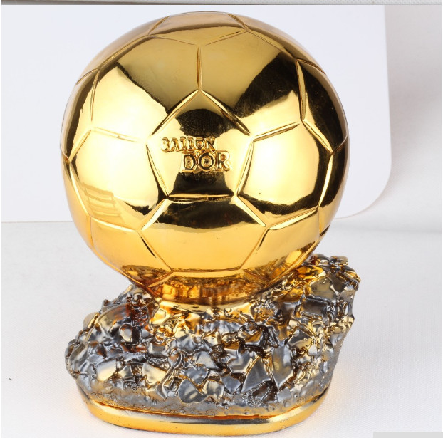 Hot Sale 24cm Big Size  Ballon DoR Trophy  Golden Ball  Trophy Final Shooter Players Electroplated Golden Ball Cup  Award