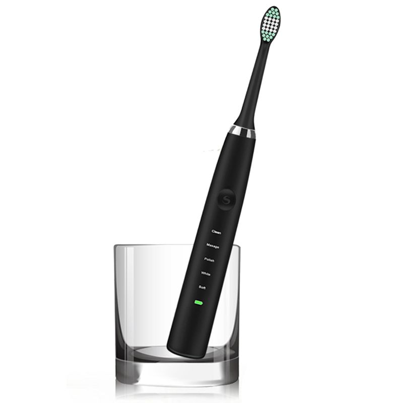 USB rechargeable electric toothbrush , Sonic vibrating electric toothbrush , IPX7 waterproof electric toothbrush-EDS7000+ : Blac image