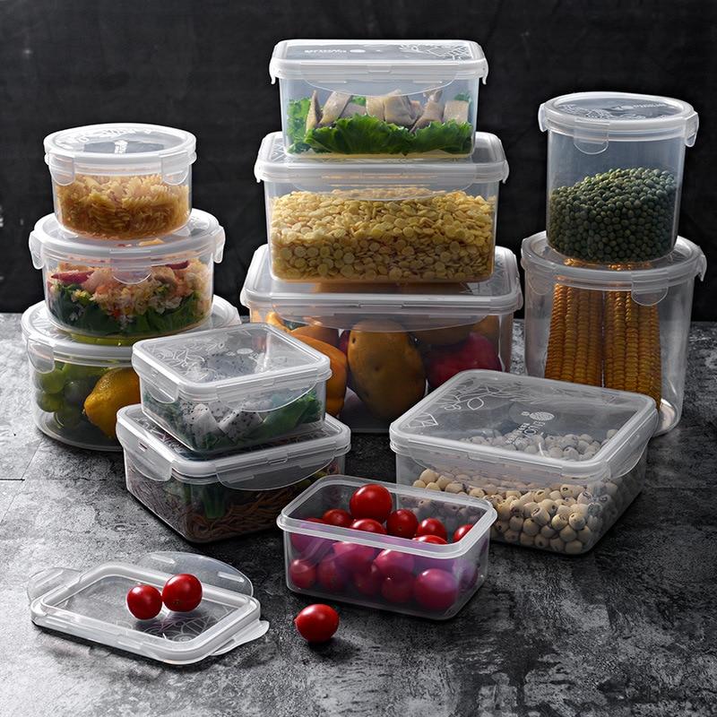 Plastic Rectangular Crisper Set Microwave Oven Container Food Sealed Box Lunch Box Refrigerator Organizing Storage Box
