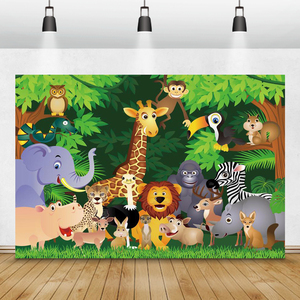 Image 1 - Laeacco Jungle Party Photophone Tropical Forest Trees Animals Photography Backdrops Photo Backgrounds Baby Birthday Photocall
