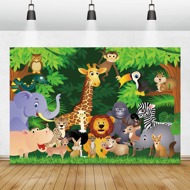 Laeacco Jungle Party Photophone Tropical Forest Trees Animals Photography Backdrops Photo Backgrounds Baby Birthday Photocall