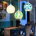 البوهيمي نمط ملون فسيفساء الزجاج قذيفة قلادة ضوء مقهى مطعم مصباح