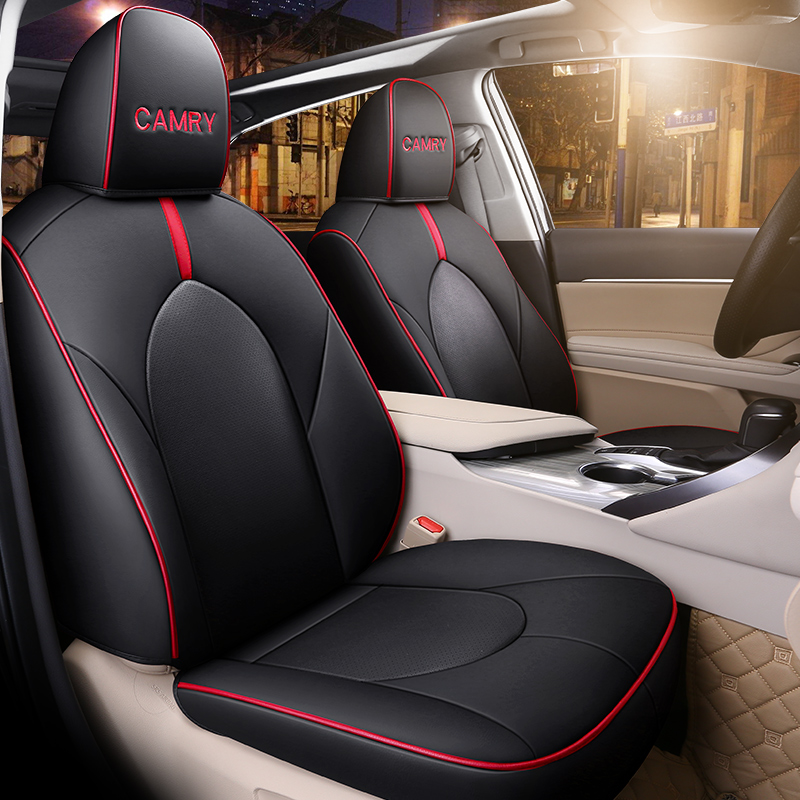 Customized PU Leather Car Seat Cover Set Special For Toyota Camry <font><b>70</b></font> <font><b>2018</b></font> 2019 Auto Seat Protector Cushion Accessories Interior image