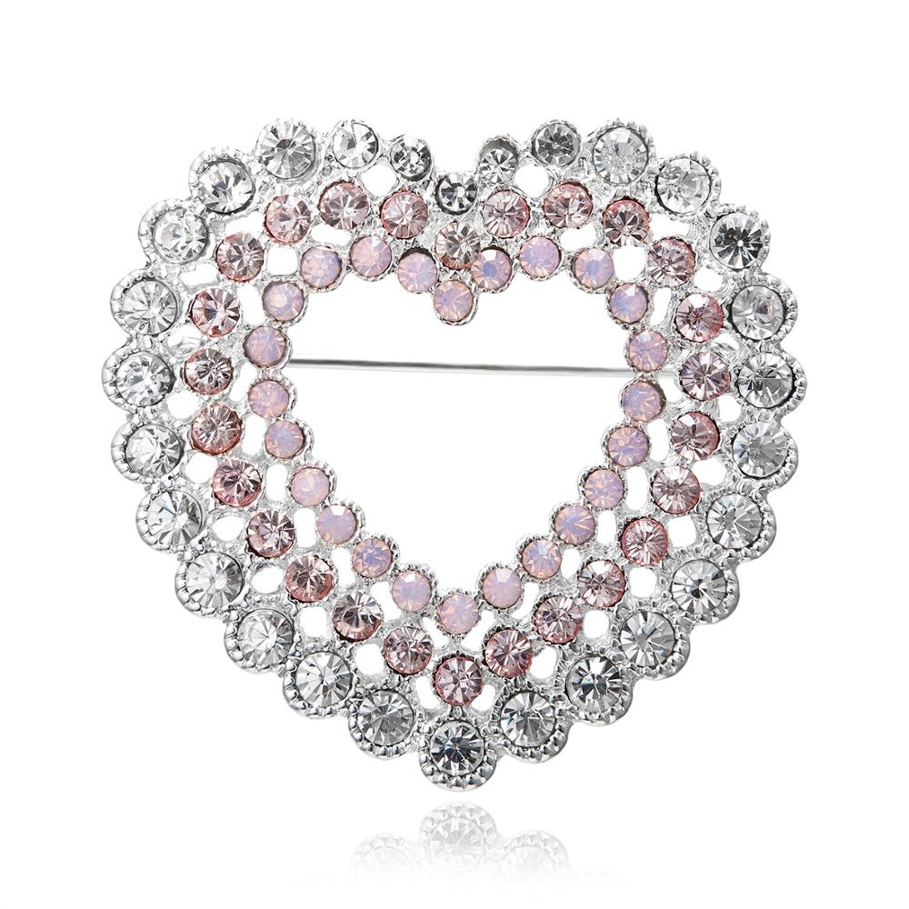 Rinhoo Gifts for Mothers Day Pink Crystal Rhinestone Heart Brooches Pins Women Clothes Accessories Wedding Bridal Broach Jewelry