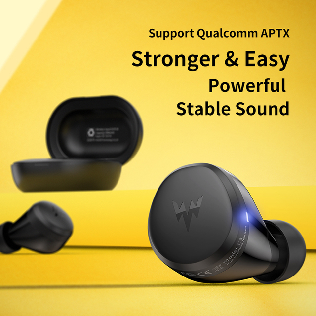 Whizzer APTX Bluetooth Earphone C3 TWS Wireless Earbuds with Qualcomm Chip, Volume Control, 36H Playtime Original Earbuds 3