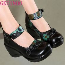GKTINOO New Autumn Retro Printing Genuine Leather Shoes Women High Heel