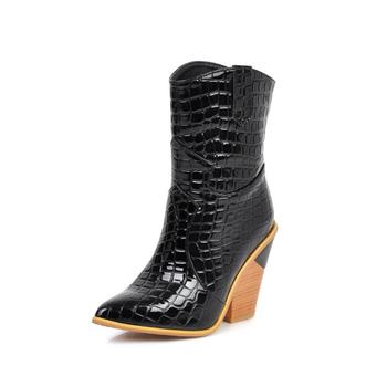 Women #8217 s spring and autumn boots wild high boots 2020 fashion women #8217 s winter leather boots women #8217 s high heel boots tanie i dobre opinie NoEnName_Null Połowy łydki Szycia Mieszane kolory 19-7 Plac heel Podstawowe Krótki pluszowe Szpiczasty nosek Zima RUBBER