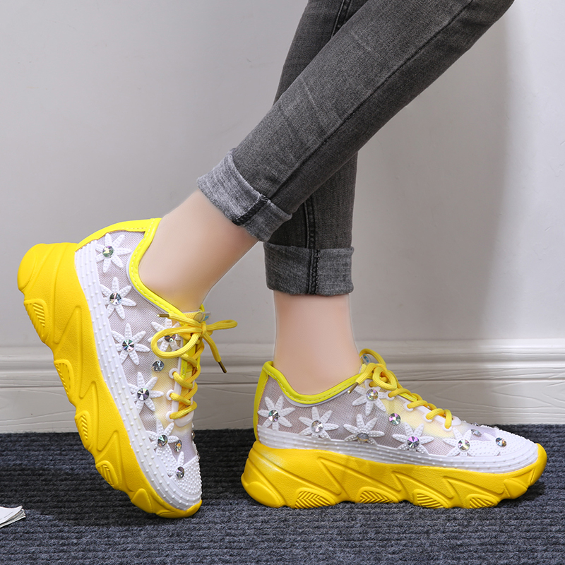 Rimocy 2020 Spring Summer Breathable Air Mesh Yellow Sneakers Women Fashion Crystal Floral Casual Shoes Woman Platform Sandals