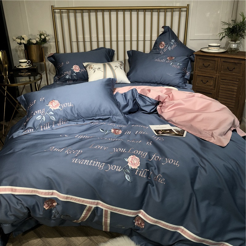 Luxury Pink Rose Flowers Embroidery 100S <font><b>Egyptian</b></font> <font><b>Cotton</b></font> <font><b>Bedding</b></font> <font><b>Set</b></font> Blue Queen King Duvet Cover Bed sheet Bed Linen Pillowcases image