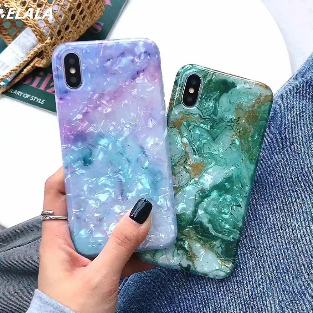 Glossy Marble Case For iPhone X XR Case Glitter Patterned Conch Silicone Cover For iPhone 6 s 7 8 Plus XR XS Max 11 Pro Max Case|Fitted Cases|   - AliExpress