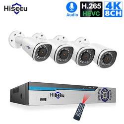 Hiseeu 8CH 4K POE NVR комплект H.265 CCTV система безопасности 8MP наружная Водонепроницаемая POE ip-камера аудио запись комплект видеонаблюдения