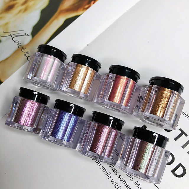 UCANBE 8 Colors Holographic Glitter Duo-Chrome Eyeshadow Powder Kit Metallic Shiny Crystal Luster Eye Toppers Eyes Shadow Makeup 2