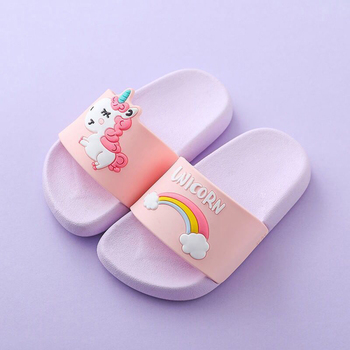 2-6Y Kids Cartoon Unicorn Indoor Slippers Toddler Boys Girls Summer Home Flip Flops Children Bedroom Shoes Beach Wear Slipper 35