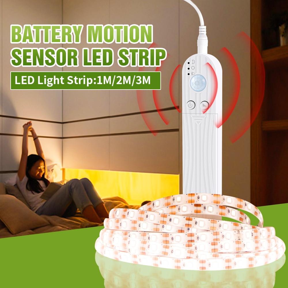 Tira de luz Led USB 5V IP65 impermeable interior LED tira Sensor movimiento PIR Led armario lámpara cama lateral 2835SMD Sala iluminación