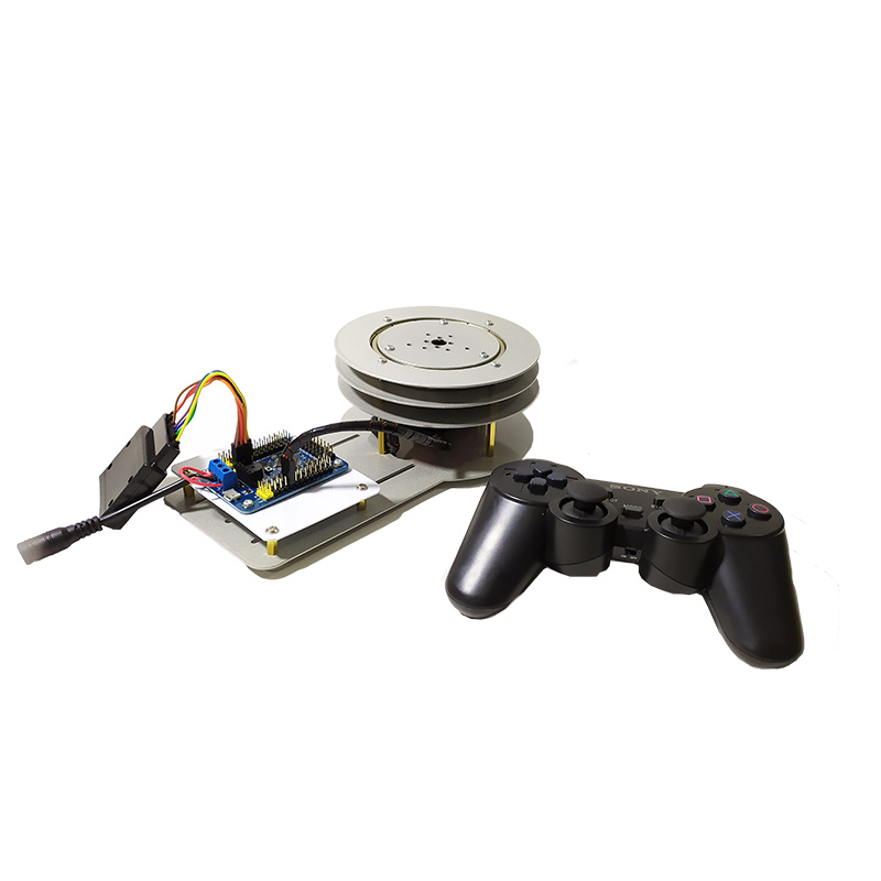PS2 Remote Control Steel 1 DOF Electric PTZ Robot Arm Rotating Base Stand With 180, 270 Degree Servo DIY STEM Educational Toys