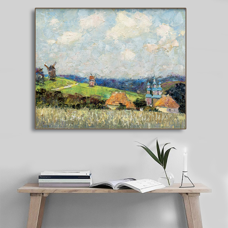 Laeacco Canvas Painting Calligraphy Rural Posters Prints Blue Sky Farmhouse Wall Art Home Decor Living Room Kitchen Decoration image