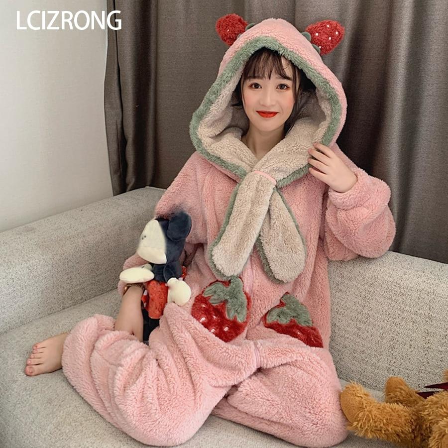 Winter Warm Hooded Women Pajama Onesie Cute Strawberry Sweet Girl Long Sleeve Nightgown Loose Home Clothes Adult Onesie