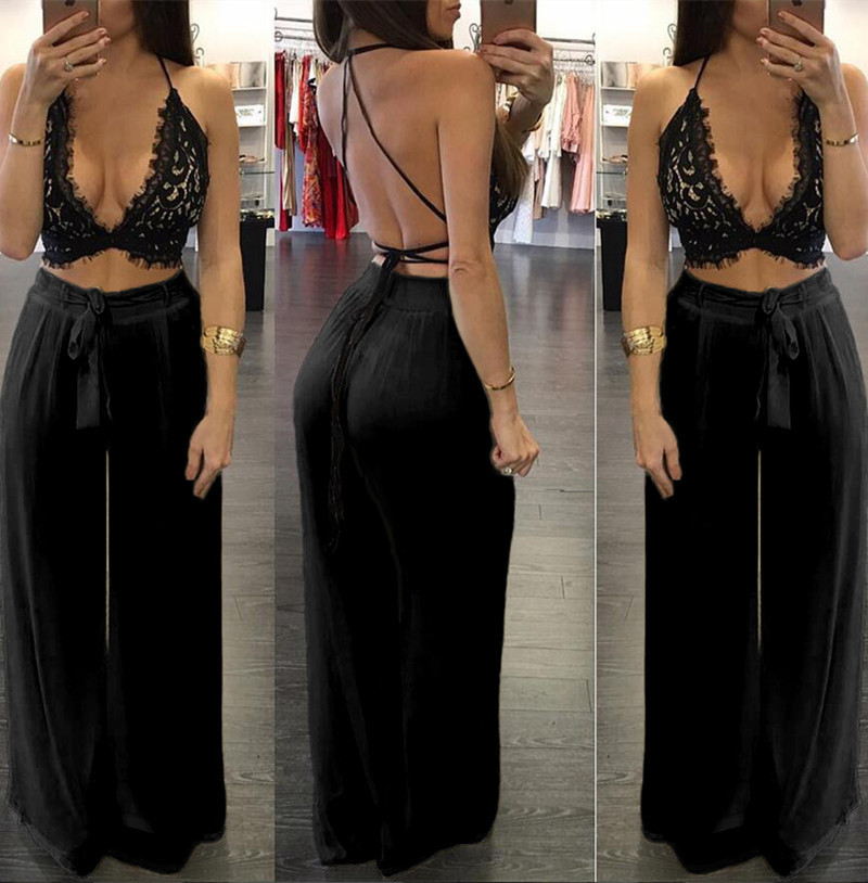 Clearance Sale Echoine Lace Up Bandage Backless Tops Wide Leg Pants High Waist 2 Piece Set Matching Set Sexy Club Outftis