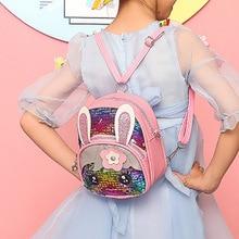 Hot Selling Kids Girls Glitter Sequins Shoulder bag Cute Rabbit Ears Crossbody Shoulder Bag Gift -B5 star detail glitter crossbody bag
