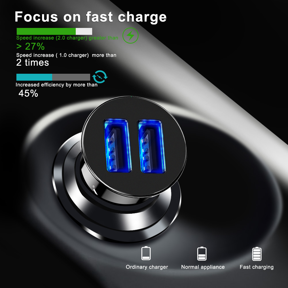 Car Charger Dual USB fast Charge For Samsung S8 S9 S10 iPhone XS Max Xiaomi Huawei
