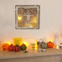 Hanging Decoration Haunted House Pattern Wooden Halloween Square Laser Hollow With LED Light