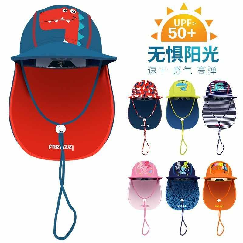 Children UV-Protection Beach Topee Cartoon Breathable Men And Women Baby Earmuff Neck Guard Seaside Sun-resistant Swimming Cap