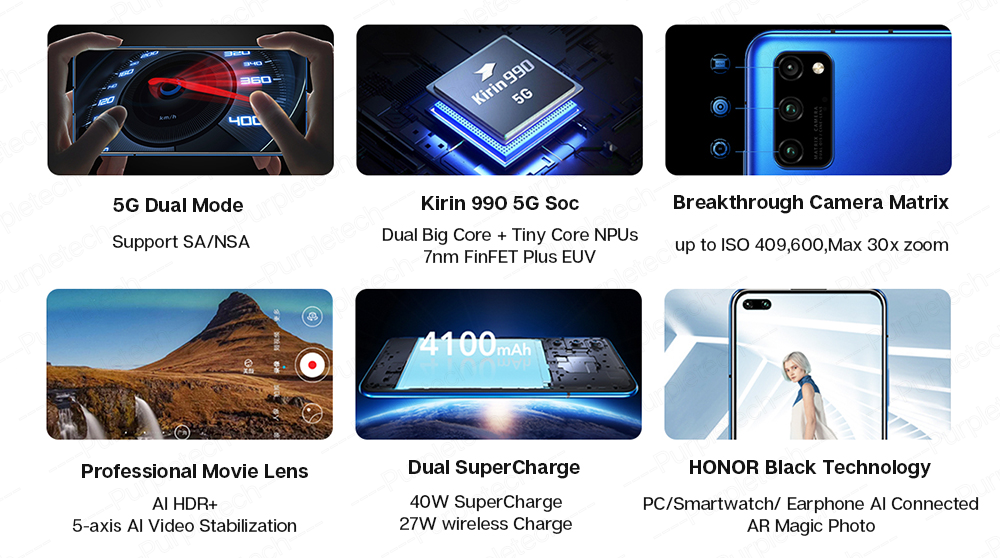 Original Honor V30 Pro Kirin990 5G 7nm Octa core Smartphone 8GB 128GB 256GB 16Core GPU 40mp Triple Camera 40W SuperCharge Android 10 (13)