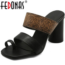 FEDONAS 2020 Summer Women Pinch Sandals Top Quality Square Heeled Sandals Lady R
