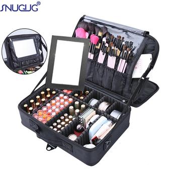 Wysoka profesjonalna jakość torba na kosmetyki kobiece piękno paznokci Box kosmetyczka podróż duża pojemność przechowywania torby walizki do makijażu tanie i dobre opinie SNUGUG Poliester polyester 14cm Stałe 25cm 40cm zipper Moda 1 75kg HZ1-630 make up bag makeup case complete makeup suitcase